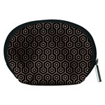 HEXAGON1 BLACK MARBLE & BROWN COLORED PENCIL Accessory Pouch (Medium) Back