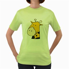 Illustrain Giraffe Face Animals Women s Green T Shirt