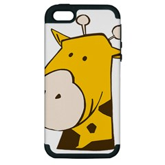 Illustrain Giraffe Face Animals Apple Iphone 5 Hardshell Case (pc+silicone) by Mariart