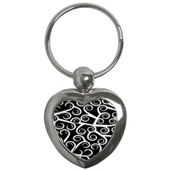 Koru Vector Background Black Key Chains (heart)  by Mariart
