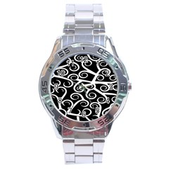 Koru Vector Background Black Stainless Steel Analogue Watch by Mariart