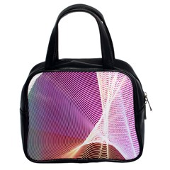 Light Means Net Pink Rainbow Waves Wave Chevron Classic Handbags (2 Sides) by Mariart
