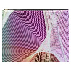 Light Means Net Pink Rainbow Waves Wave Chevron Cosmetic Bag (xxxl)  by Mariart