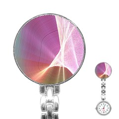 Light Means Net Pink Rainbow Waves Wave Chevron Stainless Steel Nurses Watch by Mariart
