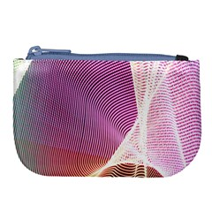 Light Means Net Pink Rainbow Waves Wave Chevron Large Coin Purse