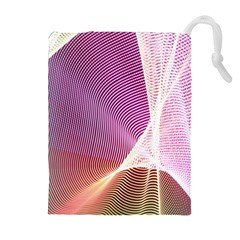 Light Means Net Pink Rainbow Waves Wave Chevron Drawstring Pouches (extra Large) by Mariart