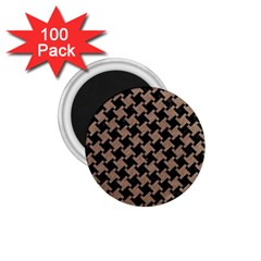 Houndstooth2 Black Marble & Brown Colored Pencil 1 75  Magnet (100 Pack)  by trendistuff