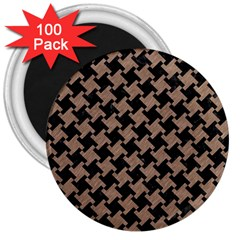 Houndstooth2 Black Marble & Brown Colored Pencil 3  Magnet (100 Pack) by trendistuff