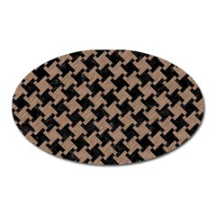 Houndstooth2 Black Marble & Brown Colored Pencil Magnet (oval) by trendistuff