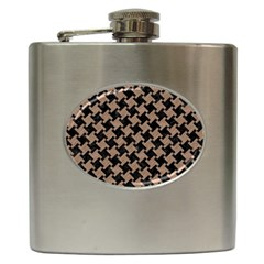 Houndstooth2 Black Marble & Brown Colored Pencil Hip Flask (6 Oz) by trendistuff