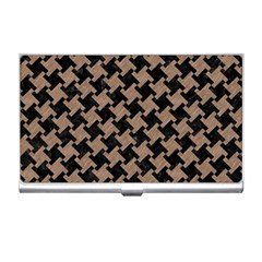 Houndstooth2 Black Marble & Brown Colored Pencil Business Card Holder by trendistuff