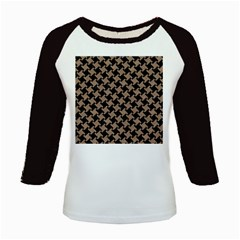 Houndstooth2 Black Marble & Brown Colored Pencil Kids Baseball Jersey