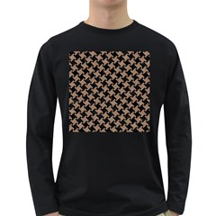 Houndstooth2 Black Marble & Brown Colored Pencil Long Sleeve Dark T Shirt by trendistuff