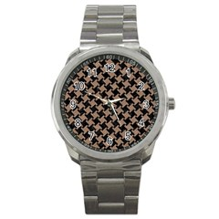 Houndstooth2 Black Marble & Brown Colored Pencil Sport Metal Watch by trendistuff
