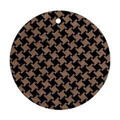 Houndstooth2 Black Marble & Brown Colored Pencil Round Ornament (two Sides) by trendistuff