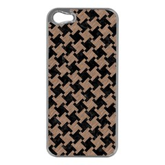 Houndstooth2 Black Marble & Brown Colored Pencil Apple Iphone 5 Case (silver) by trendistuff