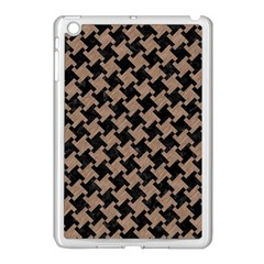 Houndstooth2 Black Marble & Brown Colored Pencil Apple Ipad Mini Case (white) by trendistuff