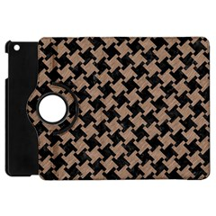 Houndstooth2 Black Marble & Brown Colored Pencil Apple Ipad Mini Flip 360 Case by trendistuff
