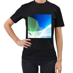 Light Means Net Pink Rainbow Waves Wave Chevron Green Blue Women s T Shirt (black) by Mariart