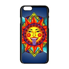 Aztec Sun Stone Apple Iphone 6/6s Black Enamel Case by retz