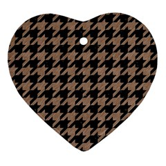 Houndstooth1 Black Marble & Brown Colored Pencil Ornament (heart) by trendistuff