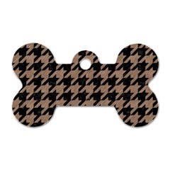 Houndstooth1 Black Marble & Brown Colored Pencil Dog Tag Bone (one Side)