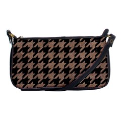 Houndstooth1 Black Marble & Brown Colored Pencil Shoulder Clutch Bag by trendistuff