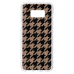 Houndstooth1 Black Marble & Brown Colored Pencil Samsung Galaxy S8 Plus White Seamless Case by trendistuff