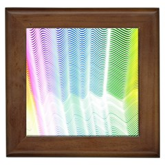 Light Means Net Pink Rainbow Waves Wave Chevron Green Framed Tiles by Mariart