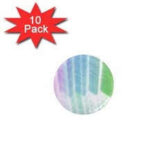 Light Means Net Pink Rainbow Waves Wave Chevron Green 1  Mini Magnet (10 Pack)  by Mariart