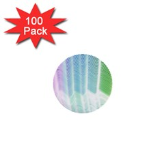 Light Means Net Pink Rainbow Waves Wave Chevron Green 1  Mini Buttons (100 Pack)  by Mariart