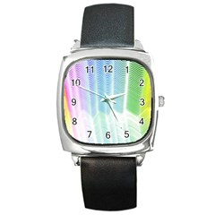 Light Means Net Pink Rainbow Waves Wave Chevron Green Square Metal Watch by Mariart