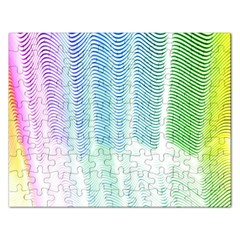 Light Means Net Pink Rainbow Waves Wave Chevron Green Rectangular Jigsaw Puzzl by Mariart