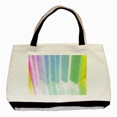 Light Means Net Pink Rainbow Waves Wave Chevron Green Basic Tote Bag (two Sides) by Mariart