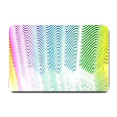 Light Means Net Pink Rainbow Waves Wave Chevron Green Small Doormat  by Mariart
