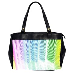 Light Means Net Pink Rainbow Waves Wave Chevron Green Office Handbags (2 Sides)  by Mariart