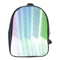 Light Means Net Pink Rainbow Waves Wave Chevron Green School Bags (xl)