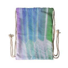 Light Means Net Pink Rainbow Waves Wave Chevron Green Drawstring Bag (small) by Mariart