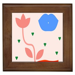 Lip Sexy Flower Tulip Heart Pink Red Blue Green Love Framed Tiles by Mariart