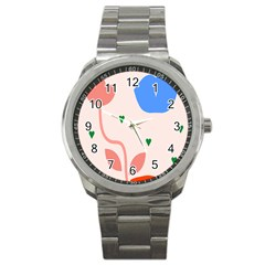 Lip Sexy Flower Tulip Heart Pink Red Blue Green Love Sport Metal Watch by Mariart