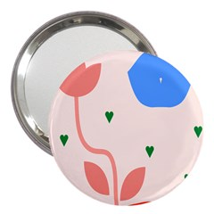 Lip Sexy Flower Tulip Heart Pink Red Blue Green Love 3  Handbag Mirrors by Mariart