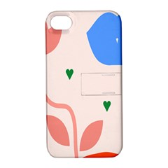 Lip Sexy Flower Tulip Heart Pink Red Blue Green Love Apple Iphone 4/4s Hardshell Case With Stand by Mariart