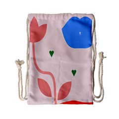 Lip Sexy Flower Tulip Heart Pink Red Blue Green Love Drawstring Bag (small) by Mariart