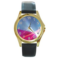 Light Means Net Pink Rainbow Waves Wave Chevron Red Round Gold Metal Watch by Mariart