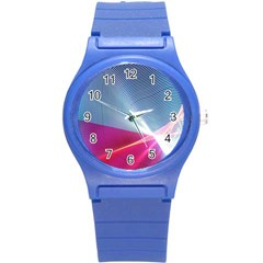 Light Means Net Pink Rainbow Waves Wave Chevron Red Round Plastic Sport Watch (s) by Mariart