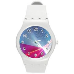 Light Means Net Pink Rainbow Waves Wave Chevron Red Round Plastic Sport Watch (m) by Mariart