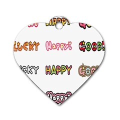 Lucky Happt Good Sign Star Dog Tag Heart (one Side) by Mariart