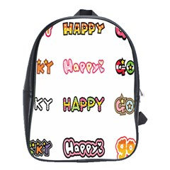 Lucky Happt Good Sign Star School Bags(large)