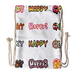 Lucky Happt Good Sign Star Drawstring Bag (large) by Mariart