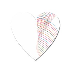 Line Wave Rainbow Heart Magnet by Mariart
